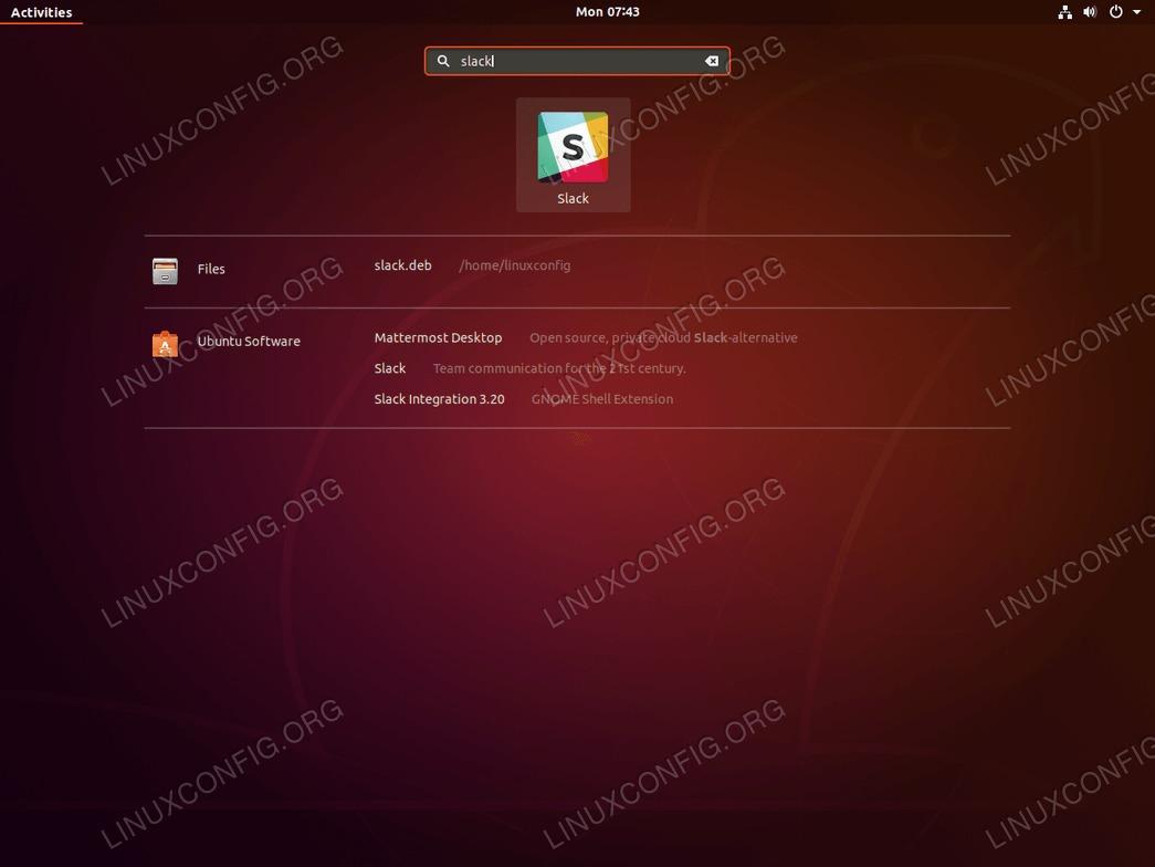 Slack ubuntu 18.04 - start application