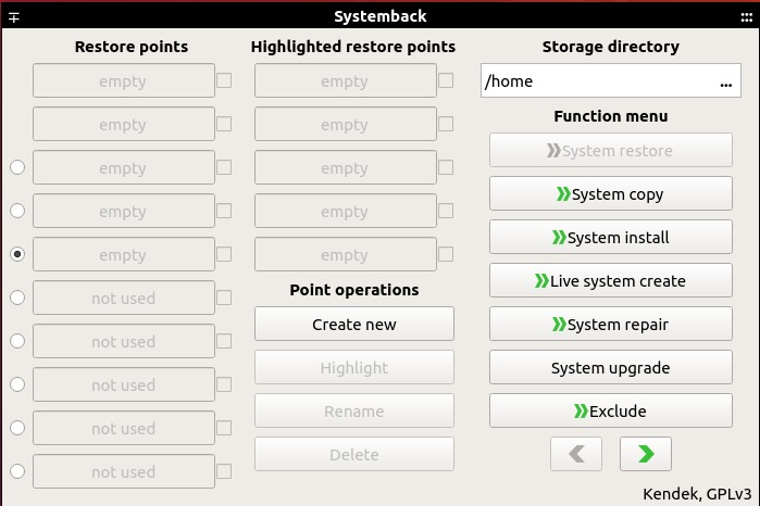 Systemback dashboard