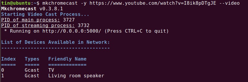 Cast YouTube videos directly from the Terminal