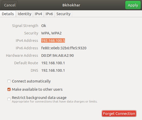Get IP address trough Ubuntu UI