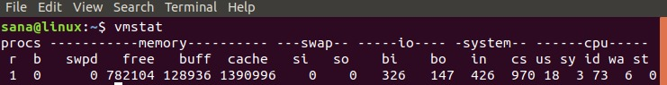 Use vmstat command to check swap space