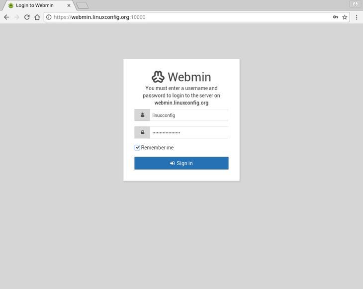 login - webmin ubuntu 18.04 bionic