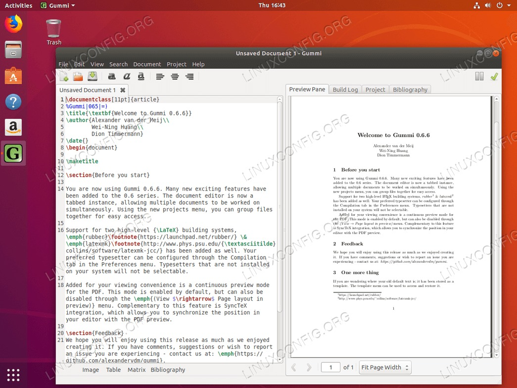 Gummi LaTeX editor on Ubuntu 18.04