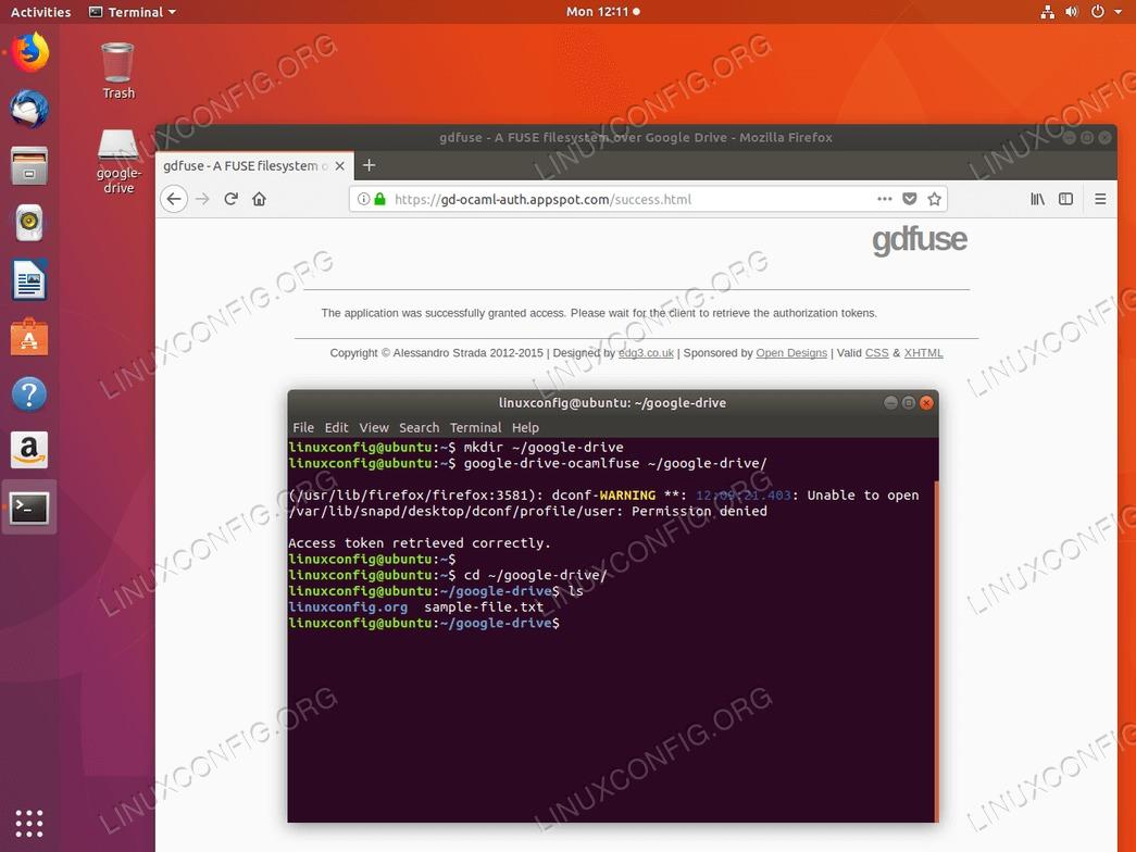 Google Drive Ubuntu mount - mounted