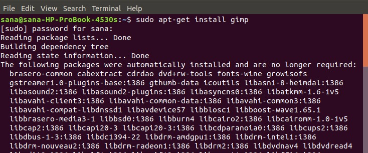 Install GIMP on the command line