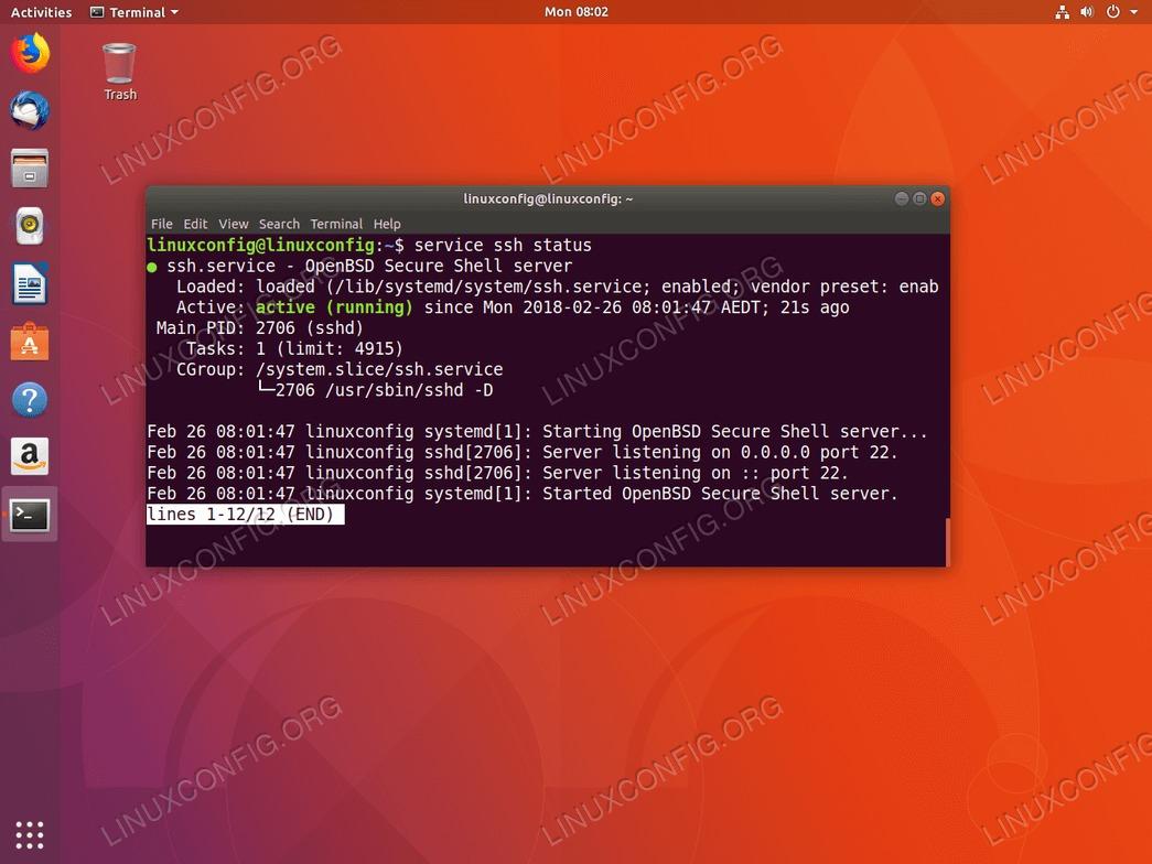 SSH enabled on ubuntu 18.04
