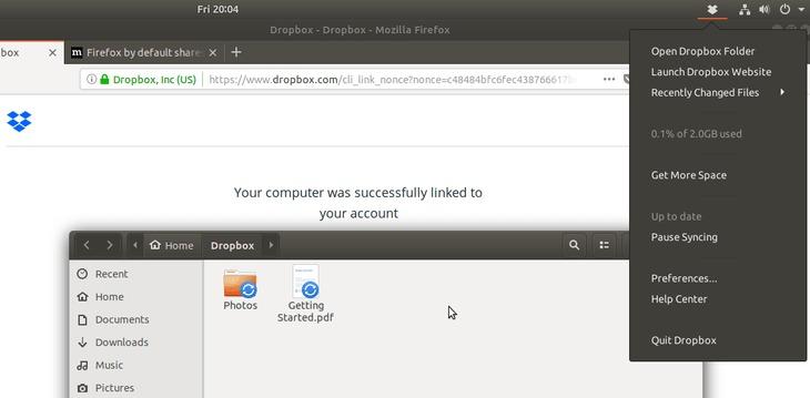 sync dropbox - ubuntu 18.04 bionic beaver