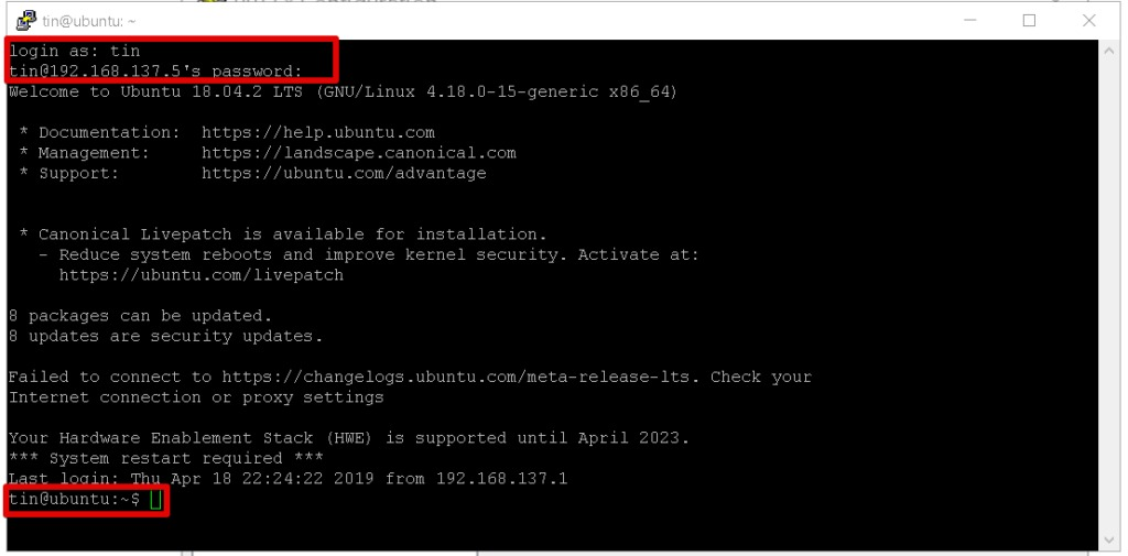 SSH Terminal session from Windows to Linux
