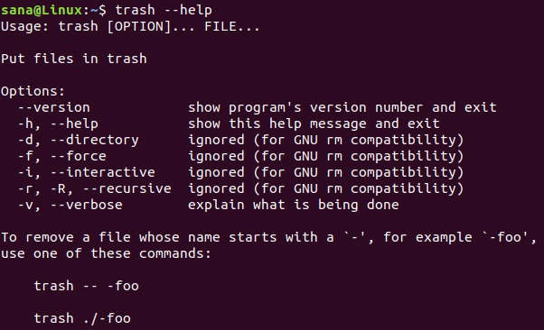 The Ubuntu trash command