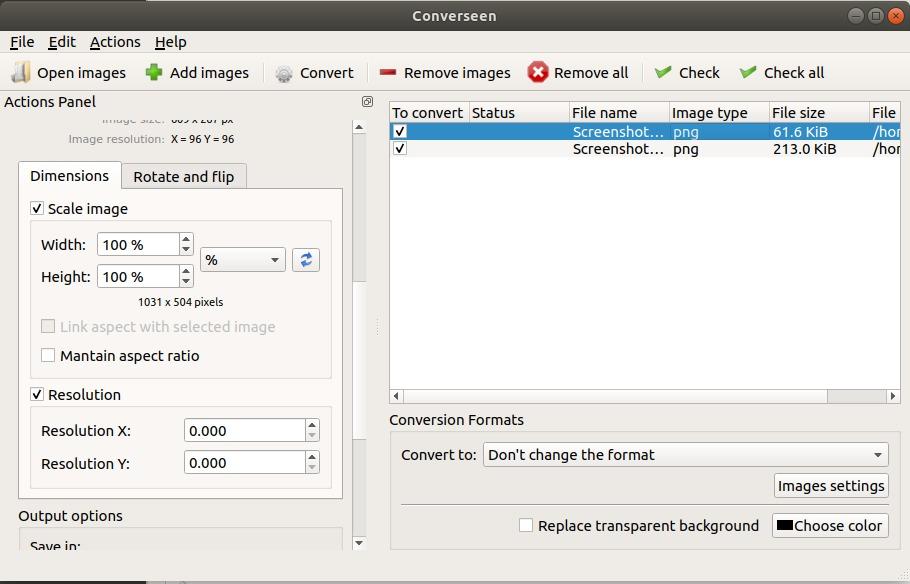 Resize Image with Converseen on Ubuntu