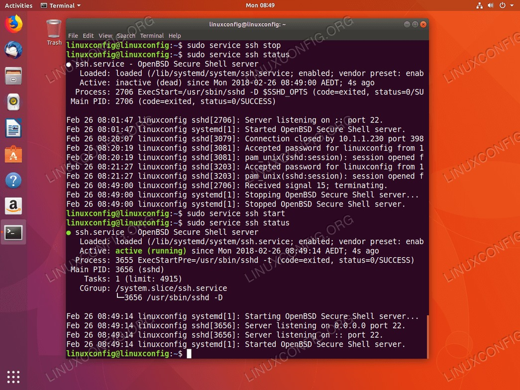 Starting and Stopping SSH service on Ubuntu 18.04