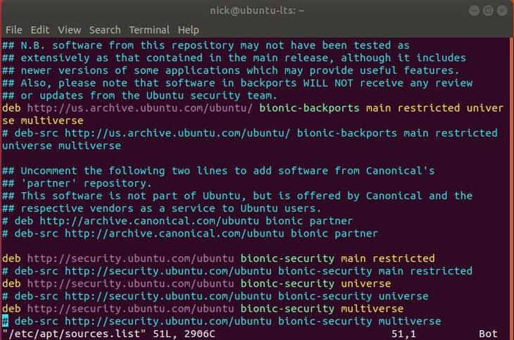 Ubuntu Bionic Beaver Sources