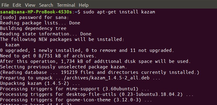 Install on the shell