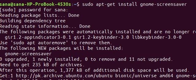 Install GNOME Screensaver