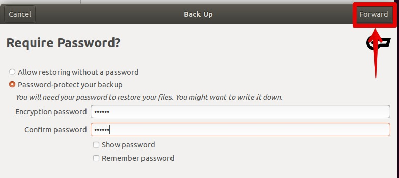 Protect backup with a password