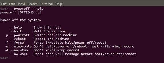 Poweroff command help
