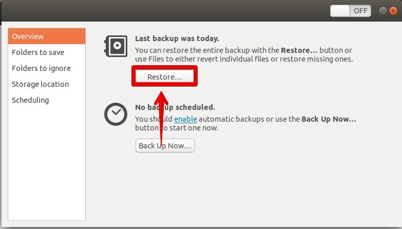 Restore Files or Folders from Backup