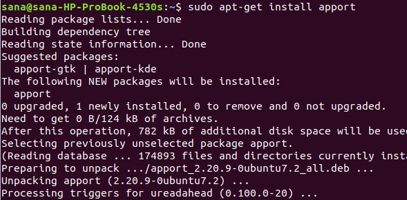 Install Apport application with apt