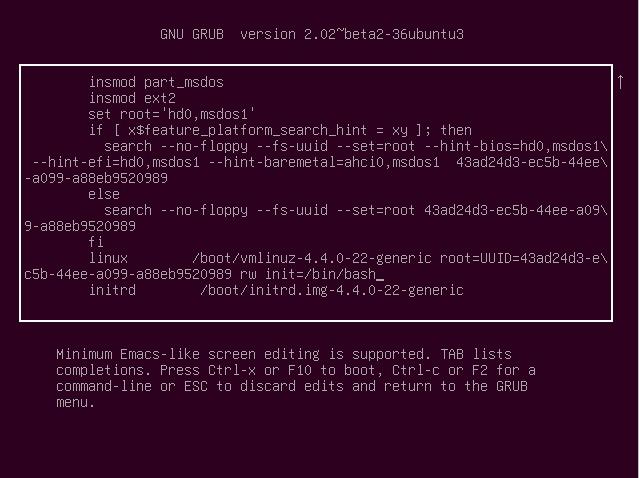 Edit ubuntu's grub item to init=/bin/bash