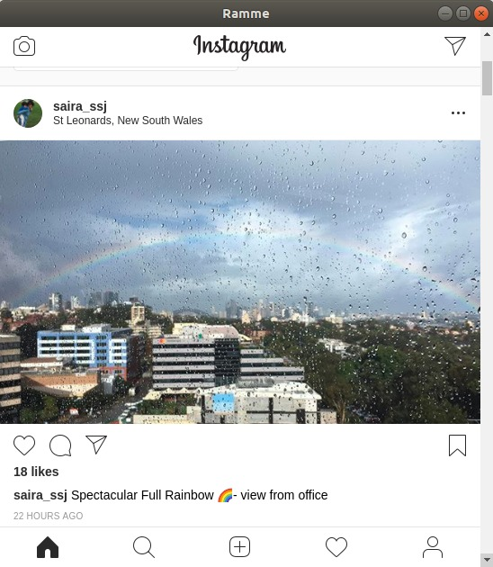 Instagram account shown in Ramme