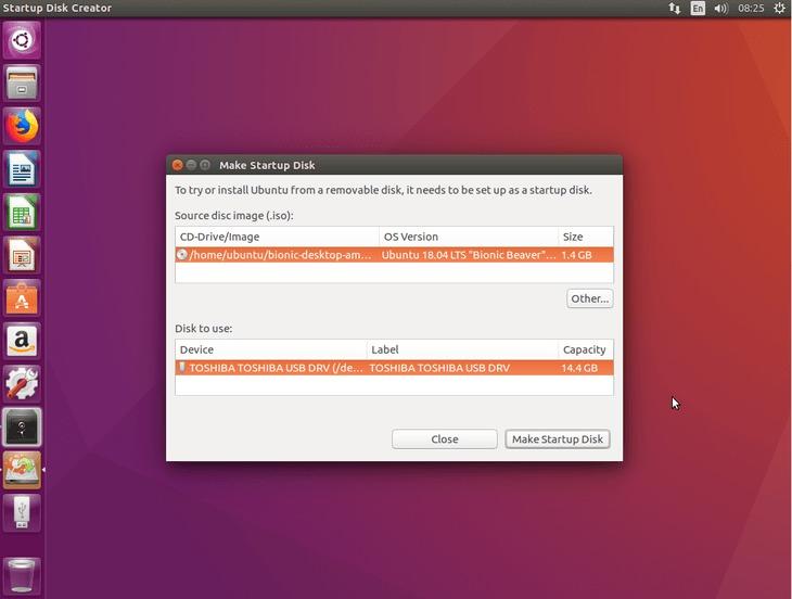 locate ISO image and USB stick -  create bootable Ubuntu 18.04 Bionic USB stick