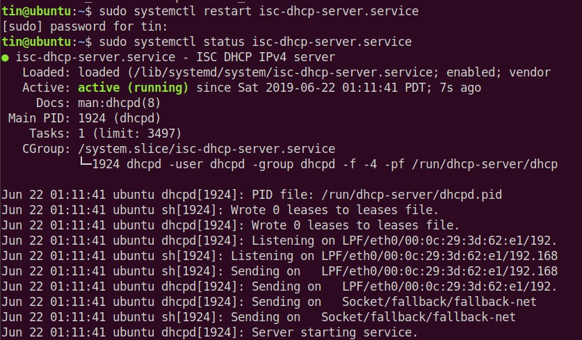 Check DHCP server status