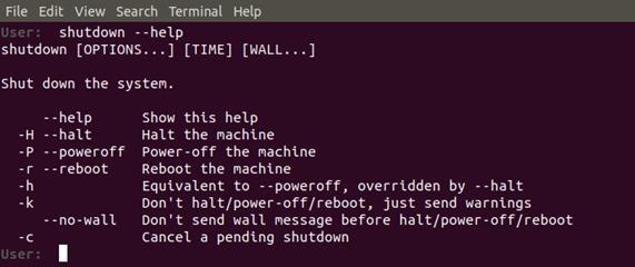 Get help for shutdown command