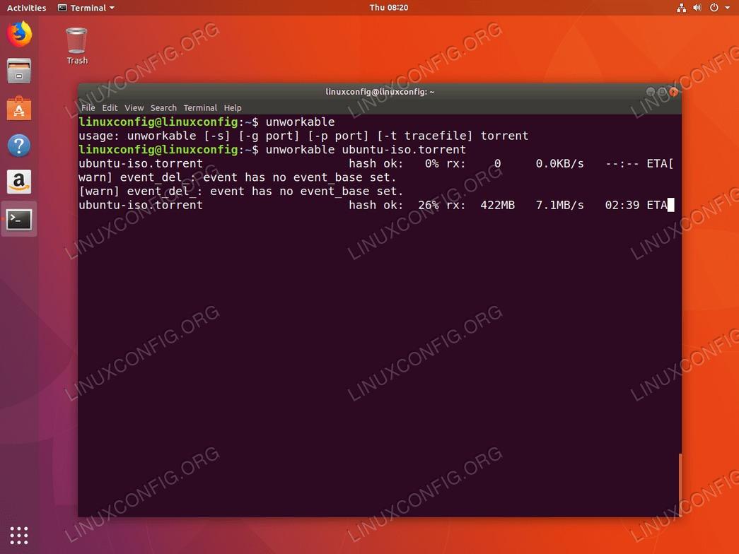 Unworkable command line torrent client