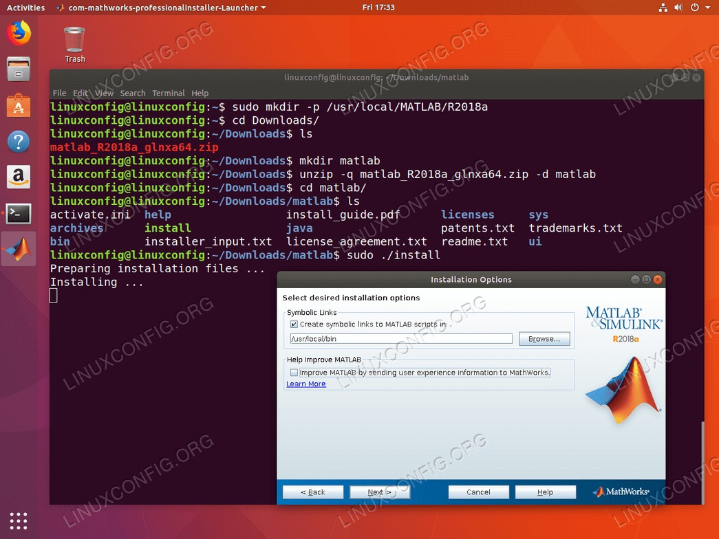 install matlab ubuntu 18.04 - Create symbolic links to MATLAB scripts