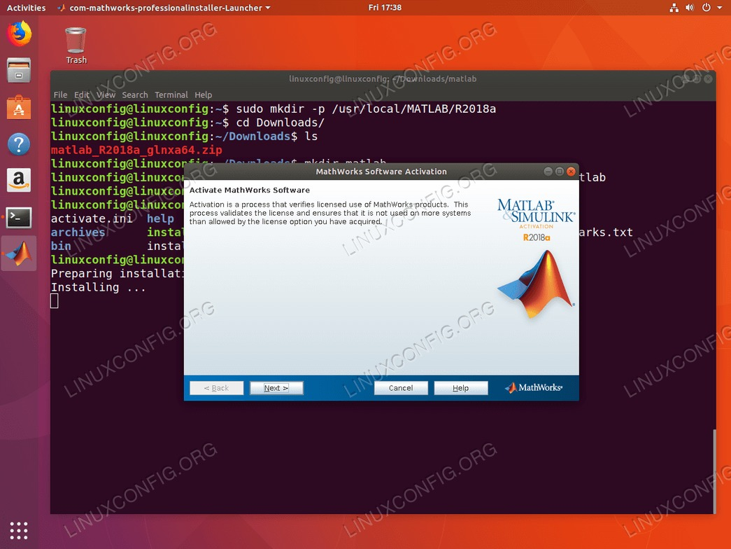 install matlab ubuntu 18.04 - activation