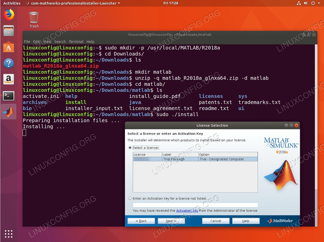 install matlab ubuntu 18.04 - Select License