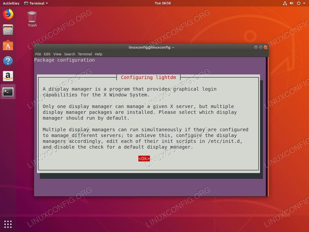 default display manager installation notification