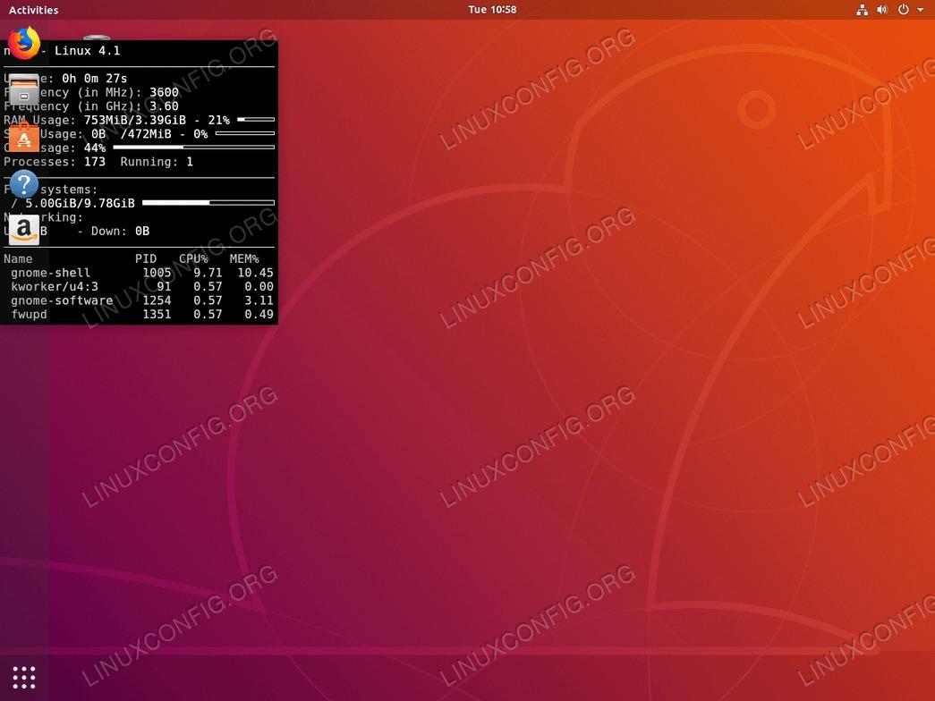 System monitoring on Ubuntu 18.04 - conky