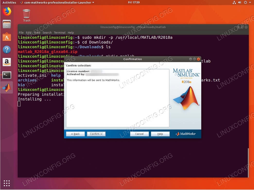 install matlab ubuntu 18.04 - Confirm Matlab license number