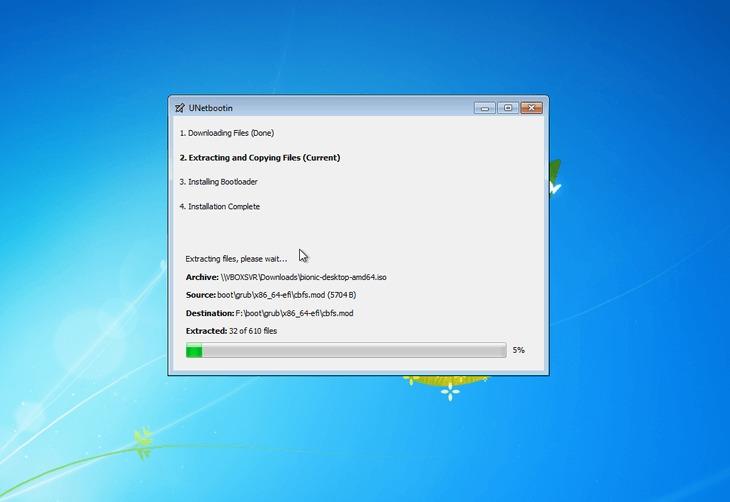 create bootable Ubuntu 18.04 Bionic USB stick on MS windows - progress